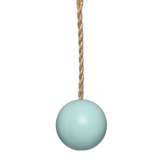 matte blue ball bathroom light pull with jute cord
