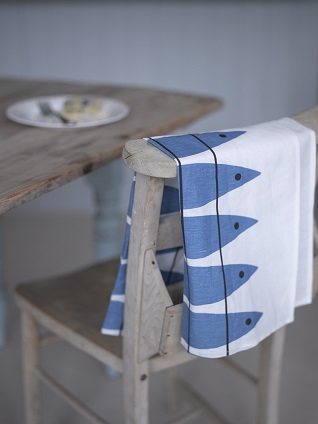 blue herring traditional scandi tea towel