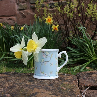 blue tit and blossom china mug