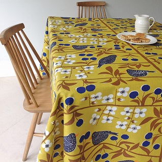 cherry orchard mustard swedish cotton fabric print
