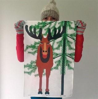 christmoose winter tea towel of elk