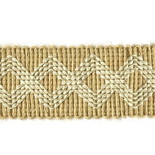 natural jute braid trimming with stitched pattern