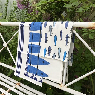 graphic fish tea towels in classic blue and white