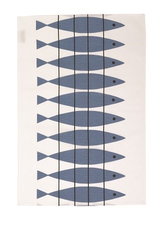 herring tea towel in blue and black 1