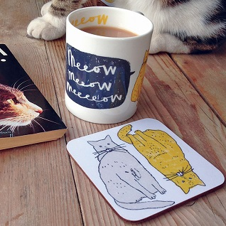 meow cat mug and coaster gift set for cat lovers