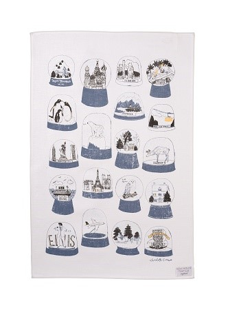 shake it tea towel in blue and black 1