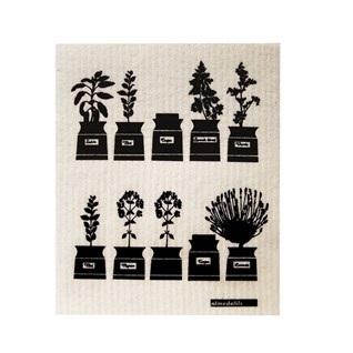 herb garden kitchen sponge cloth in black & white