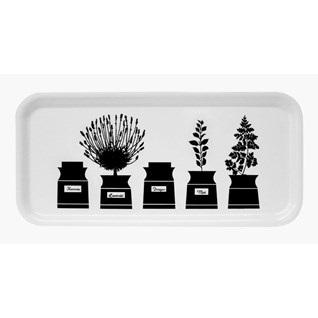 herb garden kitchen tray in black & white