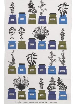herb garden vintage tea towel in blue