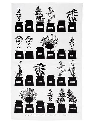 herb garden black & white tea towel