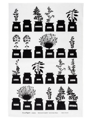 herb garden vintage tea towel in black