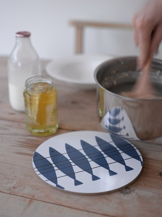 scandi herring sil blue table trivet mat