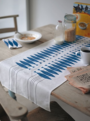 swedish herring sil table runner in blue