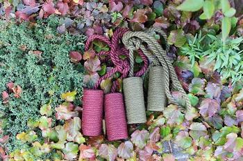 jute curtain tiebacks and autumn leaves