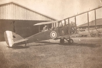 H. Stanier learning to fly an RE8 at duxford 1918