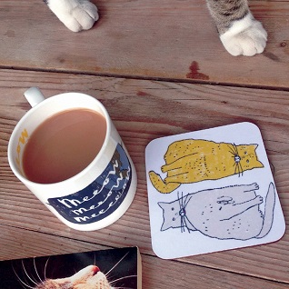 meow cat mug and coaster gift set