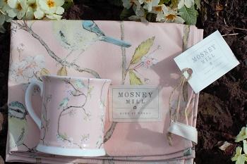 mothers day pink blue tit mug and tea towel