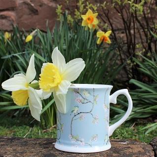 blue tit and blossom bone china mug