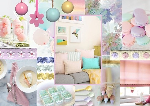 new house mood board pastels with soft colours
