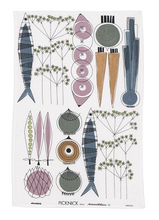 picknick blossom and blue kitchen tea towel