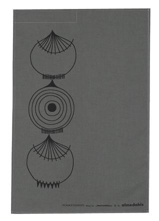picknick element tea towel in dark grey