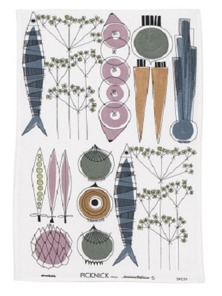 swedish garden tea towel pastel colours
