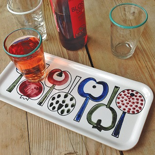 pomona retro swedish print drinks tray