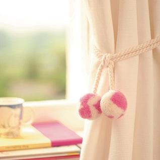 punk-skunk soft woolly curtain tieback in pink