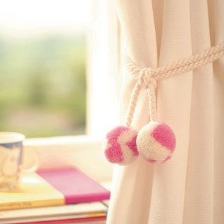 punk pink woolly curtain tiebacks