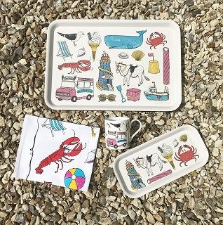seaside fun kitchen cloth, mug and trays