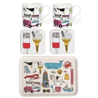 seadise fun colourful tray,mug, coaster gift set
