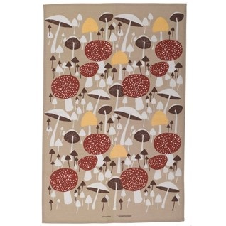 wild mushroom swedish retro tea towel