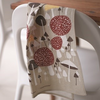 wild mushroom kitchen tea towel