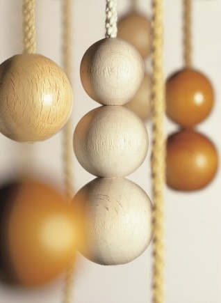 wooden ball blind pulls on cotton cord