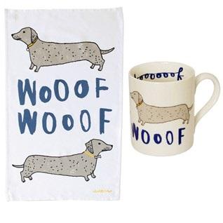 woof dog tea towel and mug gift set