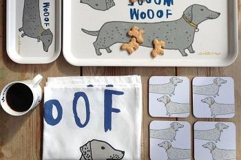 woof tray, mug and coaster kitchen gift set