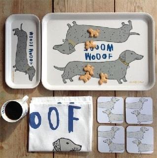 wooof sausage dog mug tray coaster teatowel set