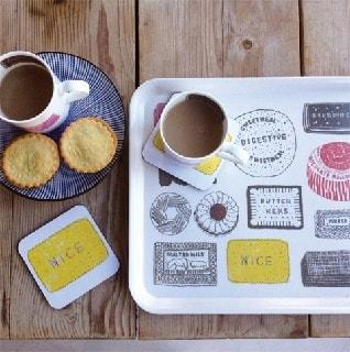 family favourites mug, tray, coaster design of cakes