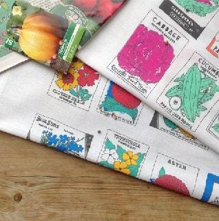 vintage seed packet tea towel set