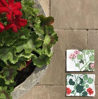 geranium design tea towels