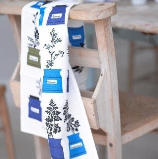 herb garden Swedish blue kitchen tea towel