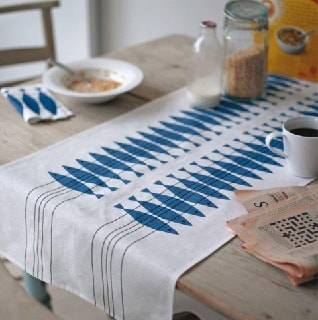 herring table runner in blue for special dining