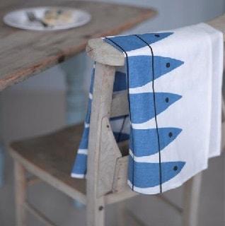 herring blue fish vintage Swedish kitchen tea towel