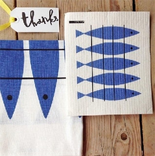 herring blue tea towel and washing up cloth