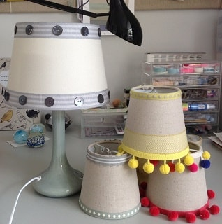 lampshades with new house textiles braids added