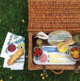 picknick homeware items on a wicker picnic
