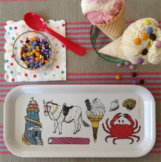 seaside fun drinks tray with crab helterskelter images of sea