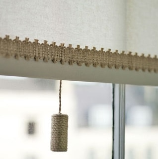 swedish plain roller blind fabric with jute braid and pull