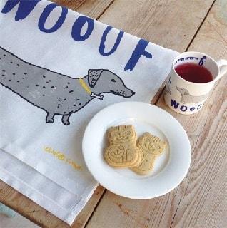 woof mug and tea towel kitchen gift set with sausage dog