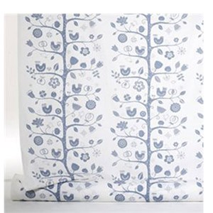 charming naive birdsong soft Swedish cotton fabric by Betty Svensson in white and blue colours